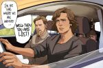 1girl 3boys absurdres anakin_skywalker beard black_shirt blue_eyes brother_and_sister brown_hair brown_shirt car_interior car_seat child closed_eyes commentary contemporary driving english_commentary english_text facial_hair father_and_daughter father_and_son grey_eyes highres luke_skywalker multiple_boys mustache nervous obi-wan_kenobi open_mouth princess_leia_organa_solo shirt short_hair siblings sitting sleeping speech_bubble star_wars steering_wheel sweat thisuserisalive upper_teeth zzz