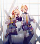 1boy 1girl adapted_costume arm_rest badge belt black_legwear black_shorts blonde_hair blue_eyes bow commentary crop_top feet_out_of_frame hair_bow hair_ornament hairclip headphones headset holding holding_microphone kagamine_len kagamine_rin kurotero leaning_back leg_up leg_warmers looking_at_viewer looking_back microphone necktie open_mouth shirt shorts signature smile spiky_hair vocaloid white_bow white_shirt yellow_collar yellow_neckwear