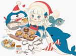 1girl baking bangs bloop_(gawr_gura) blue_eyes blue_hair blush chikuwa_emil cookie cookie_cutter english_commentary eyebrows_visible_through_hair fish_tail food gawr_gura hat heart holding holding_tray hololive hololive_english icing multicolored_hair open_mouth pastry_bag rolling_pin santa_hat shark shark_tail sharp_teeth silver_hair smile streaked_hair tail teeth tray two_side_up virtual_youtuber