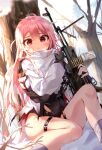 1girl absurdres ahoge black_gloves blush bullet closed_mouth day dutch_angle feet_out_of_frame fingerless_gloves frown girls_frontline gloves gun hair_between_eyes highres holding holding_gun holding_weapon iop5509 knee_up legband light_machine_gun long_hair looking_at_viewer machine_gun messy_hair outdoors pink_eyes pink_hair shirt sitting snow solo torn_clothes tree ukm-2000_(girls_frontline) very_long_hair weapon white_shirt wide-eyed