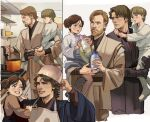 1girl 3boys anakin_skywalker apron beard black_gloves black_robe blue_eyes boots bottle brother_and_sister brown_hair brown_robe brown_shirt carrying child closed_mouth commentary cooking double_bun english_commentary eye_contact facial_hair father_and_daughter father_and_son gloves grey_eyes grin hand_up highres holding holding_bottle holding_spoon indoors kitchen lips long_sleeves looking_at_another luke_skywalker multiple_boys multiple_views mustache obi-wan_kenobi parted_lips pot pot_on_head princess_leia_organa_solo shirt short_hair siblings single_glove smile spoon standing star_wars stirring teeth thisuserisalive what_if white_footwear white_robe