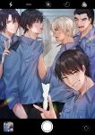 5boys :d ^_^ absurdres amuro_tooru anger_vein angry bangs belt black_belt black_hair black_pants blonde_hair blue_eyes blue_shirt blurry blurry_background brown_eyes brown_hair chitose_(chitose_70207) cigarette closed_eyes closed_mouth collared_shirt commentary_request confrontation date_wataru eye_contact eyebrows_visible_through_hair fake_screenshot fingernails from_side grin hagiwara_kenji hair_between_eyes hand_in_pocket hand_on_another's_shoulder highres indoors looking_at_another looking_at_viewer male_focus matsuda_jinpei meitantei_conan mouth_hold multiple_boys open_mouth pants phone_screen police police_uniform policeman scotch_(meitantei_conan) shirt shirt_grab short_hair sleeves_rolled_up smile smoke smoking standing teeth uniform upper_teeth v