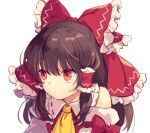 1girl arm_garter ascot bangs bare_shoulders bow brown_hair closed_mouth commentary detached_sleeves frilled_bow frilled_shirt_collar frills hair_bow hair_tubes hakurei_reimu long_hair looking_away orange_eyes ponytail raised_eyebrows red_bow red_eyes red_ribbon red_shirt ribbon ribbon-trimmed_collar ribbon_trim shirt sidelocks simple_background sleeve_bow sleeveless sleeveless_shirt solo tomobe_kinuko touhou upper_body white_background yellow_neckwear