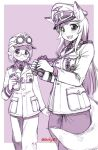 2girls :3 :d animal_ears aquila_(symbol) binoculars blush border canteen closed_mouth dot_nose ebifly fangs glasses goggles goggles_on_headwear hat holding holding_binoculars iron_cross long_hair long_sleeves looking_at_viewer medium_hair military military_hat military_jacket military_uniform monochrome multiple_girls open_mouth original outside_border pants peaked_cap pointy_ears purple_background purple_theme round_eyewear simple_background smile tail twitter_username uniform white_border