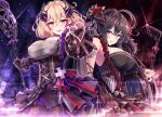 2girls :d ahoge akashio_(loli_ace) azur_lane bangs bare_shoulders black_corset black_hair blonde_hair breasts commentary_request corset covered_nipples detached_sleeves eyebrows_visible_through_hair frills gloves gothic_lolita hair_between_eyes hair_ornament heart highres holding holding_microphone_stand large_breasts lolita_fashion looking_at_viewer microphone microphone_stand multiple_girls open_mouth outstretched_arms red_eyes ribbon roon_(azur_lane) roon_(muse)_(azur_lane) single_detached_sleeve smile taihou_(azur_lane) taihou_(muse)_(azur_lane) yellow_eyes