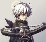 1boy arknights bow_(weapon) chagara character_request closed_mouth crossbow eyebrows_visible_through_hair eyes_visible_through_hair gradient gradient_background hair_between_eyes halo headphones headphones_around_neck holding holding_weapon looking_at_viewer male_focus pointing_weapon sketch smile solo twitter_username upper_body weapon white_hair yellow_eyes