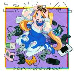 1girl blonde_hair blue_eyes blue_footwear clothing_cutout collar controller copyright_request detached_sleeves dualshock famicom_gamepad flat_chest full_body game_boy game_boy_advance game_controller gamepad handheld_game_console headset heart_cutout high_heels keyboard long_hair mouse nintendo_3ds nintendo_ds playstation_controller playstation_portable rta-chan rta_in_japan sakino_(sanodon) see-through sitting smile solo super_famicom_gamepad thigh-highs twintails very_long_hair wariza white_legwear wii_u_gamepad xbox_controller