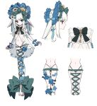 1girl bangs barefoot black_bow blue_bow bow character_request commentary_request detached_sleeves eyebrows_visible_through_hair green_bow grey_eyes hair_bow highres key keyhole legs_together long_hair looking_at_viewer moe_(hamhamham) multiple_views navel personification pokemon toes white_background white_hair
