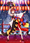 1girl aerial_fireworks arm_up asami_(undoundo) black_dress black_gloves blue_bow bow brown_eyes brown_hair commentary criss-cross_halter crypton_future_media dress fan fireworks folding_fan full_body gloves hair_bow halterneck headphones holding holding_fan lantern looking_at_viewer magical_mirai_(vocaloid) meiko night official_art open_mouth piapro red_bow short_hair single_glove single_sleeve smile solo spotlight standing two-tone_bow vocaloid wide_sleeves zouri