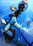 1boy android arm_cannon armor gloves green_eyes helmet highres hoshi_mikan male_focus open_mouth robot rockman rockman_x solo weapon x_(rockman)