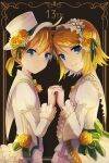 1boy 1girl absurdres anniversary black_background blonde_hair blue_eyes braid braided_bangs collar commentary dress dress_flower expressionless flower framed_image frilled_collar frilled_dress frilled_sleeves frills from_side hat hat_flower headdress highres holding_hands kagamine_len kagamine_rin looking_at_viewer looking_to_the_side neck_ribbon ribbon rose sailor_collar shirt short_hair short_ponytail smile spiky_hair top_hat upper_body vocaloid wakolenrin white_collar white_headwear white_shirt yellow_flower yellow_neckwear yellow_rose