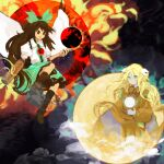 2girls aqua_eyes arm_cannon atom bird_wings black_hair black_legwear black_sun black_wings blonde_hair blouse bow bright_pupils brown_dress brown_eyes brown_hair cape circle clouds collared_blouse commentary_request control_rod dress fire flame floating floating_object forehead_jewel full_moon green_bow green_skirt hair_bow highly_responsive_to_prayers highres kaigen_1025 kikuri_(touhou) kneehighs light_smile long_hair looking_at_another mismatched_footwear moon multiple_girls puffy_short_sleeves puffy_sleeves reiuji_utsuho shoes short_sleeves single_shoe skirt starry_sky_print sun third_eye touhou touhou_(pc-98) two-sided_cape two-sided_fabric very_long_hair weapon white_blouse white_cape white_pupils wings