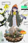 1girl absurdres ankle_boots beanie black_hair boots braid character_name commentary_request fangs fukumaru_koito full_body fur-trimmed_jacket fur_trim green_jacket hair_ornament hairclip hat highres hood hoodie idolmaster idolmaster_shiny_colors jacket long_hair long_sleeves looking_at_viewer low_twin_braids mushroom orange_headwear overall_skirt plant puffy_long_sleeves puffy_sleeves road_sign sign skin_fangs skirt solo twin_braids umeume_(totoya) violet_eyes white_skirt yellow_hoodie