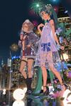 2girls :d absurdly_long_hair aerial_fireworks bare_shoulders bikini bikini_top black_bow black_footwear black_neckwear blue_bow blue_sky blush boots bow bowtie breasts brown_eyes brown_hair closed_mouth cup dress drinking_glass fireworks fishnet_legwear fishnets flower green_hair hair_flower hair_ornament hand_on_hip hand_on_own_chest hatsune_miku high_heel_boots high_heels highres holding holding_cup long_hair looking_at_viewer medium_hair meiko_(vocaloid3) multiple_girls night night_sky open_mouth outdoors red_bikini red_shorts see-through_dress see-through_jacket short_dress shorts sky small_breasts smile swimsuit thigh-highs twintails very_long_hair vocaloid vofan walking white_dress white_flower wine_glass