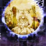 1girl ahoge aura commentary_request dress frilled_dress frills full_moon highly_responsive_to_prayers kaigen_1025 kikuri_(touhou) light_smile long_hair long_sleeves moon onbashira puffy_long_sleeves puffy_sleeves rope sepia shimenawa solo tassel touhou touhou_(pc-98) transparent wing_collar
