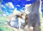 1girl aether_(genshin_impact) bangs blonde_hair blush breasts genshin_impact hair_ornament hat highres looking_at_viewer original sky solo tori_(qqqt) witch
