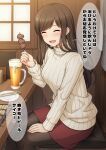 1girl :d ^_^ alcohol bangs beer beer_mug black_legwear blush brown_hair chopsticks closed_eyes cup cushion eyebrows_visible_through_hair facing_viewer food from_side holding holding_food indoors long_hair long_sleeves looking_to_the_side meat miniskirt mug nakamura_sumikage open_mouth original pantyhose red_skirt restaurant sitting skewer skirt smile solo sweater swept_bangs translation_request tray turtleneck turtleneck_sweater white_sweater wooden_table wooden_wall