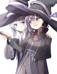 2girls bangs black_capelet black_hair black_headwear black_robe blush brown_shirt capelet closed_mouth collared_shirt commentary_request dress_shirt elaina_(majo_no_tabitabi) eyebrows_visible_through_hair grey_eyes hair_between_eyes hand_on_another's_shoulder hat highres holding long_hair long_sleeves majo_no_tabitabi multiple_girls open_clothes open_mouth open_robe robe saya_(majo_no_tabitabi) seero shirt silver_hair simple_background smile violet_eyes white_background witch_hat