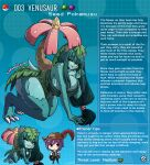 1boy 1girl animal_ears artist_name breasts brown_eyes colored_skin english_text eyebrows_visible_through_hair fang feathers gen_1_pokemon green_hair green_skin hair_ornament hat hat_feather highres kinkymation large_breasts leaf_clothing long_hair low_ponytail monster_girl monsterification one_eye_closed poke_ball pokemon purple_hair red_eyes tail venusaur