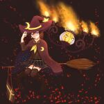 1girl adjusting_clothes adjusting_headwear bangs blue_eyes broom broom_riding brown_hair chandelure cloak crescent crescent_moon_pin fire gen_5_pokemon hair_between_eyes hat highres looking_at_viewer pokemon school_uniform short_hair simple_background skirt smile star_pin thigh-highs witch witch_hat yuiisbestsinger