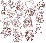 1boy 6+girls ^_^ absurdres ahoge alternate_hairstyle animal_ears banana_costume bandaid bandaid_on_face bangs bow braid bsapricot bsapricot_(vtuber) character_request chibi closed_eyes corn_dog cosplay dab_(dance) dodo_(bird) dog eating english_commentary english_text fang food fox_ears fox_girl hair_bow highres holding holding_food hololive horns lich mario mario_(cosplay) mario_(series) melody_(projektmelody) monochrome mouse_ears multiple_girls muscular muscular_female nyatasha_nyanners open_mouth panda projektmelody rabbit shirakami_fubuki short_hair sketch tongue tongue_out twin_braids virtual_youtuber vshojo zentreya_(vtuber)