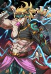 1boy abs absurdres biceps cowboy_shot fate/grand_order fate_(series) fighting_stance headband heian_warrior_attire_(fate/grand_order) highres lightning_bolt looking_at_viewer male_focus muscular muscular_male official_alternate_costume over_shoulder pectorals sakata_kintoki_(fate/grand_order) single_bare_shoulder single_sleeve smile solo tsugu0302 weapon weapon_over_shoulder