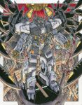 alex_milne autobot city commission cybertron english_commentary highres looking_at_viewer looking_up mecha mechanical_wings no_humans nova_prime open_hands science_fiction solo the_transformers_(idw) traditional_media transformers v-fin wings