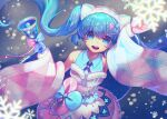1girl bell blue_eyes blue_gloves blue_hair blurry blurry_foreground bokeh commentary depth_of_field dress floating_hair from_above fur-trimmed_dress fur-trimmed_gloves fur-trimmed_sleeves fur_trim gloves hair_ornament hairclip hatsune_miku highres holding holding_bell long_hair looking_at_viewer magical_mirai_(vocaloid) mismatched_gloves mismatched_sleeves open_mouth pink_gloves raymond_busujima sleeveless sleeveless_dress smile snowflakes snowing solo twintails upper_body very_long_hair vocaloid wide_sleeves