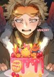 1boy artist_name birthday_cake blonde_hair blush boku_no_hero_academia cake candle candlelight commentary facial_hair food goggles goggles_on_head happy_birthday hawks_(boku_no_hero_academia) kadeart looking_down male_focus open_mouth red_wings short_hair smile solo todoroki_enji upper_body wings yellow_eyes