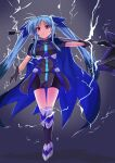1girl absurdres bangs bike_shorts black_dress black_footwear black_gloves black_shorts blue_cape blue_hair blue_ribbon cape closed_mouth commentary dress electricity frown full_body gloves greaves hair_ribbon hajime_kazuhito highres holding holding_weapon long_hair looking_at_viewer lyrical_nanoha magical_girl mahou_shoujo_lyrical_nanoha_reflection material-l ribbon short_dress short_sleeves shorts solo standing violet_eyes vulnificus weapon