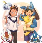 2boys antenna_hair ash_ketchum bangs black_hair blue_eyes blush brown_eyes brown_hair brown_pants chitozen_(pri_zen) cinderace closed_mouth eyelashes gen_1_pokemon gen_4_pokemon gen_8_pokemon goh_(pokemon) highres hood hood_up hoodie looking_at_viewer lucario male_focus multiple_boys on_head one_eye_closed pants pikachu pokemon pokemon_(anime) pokemon_(creature) pokemon_on_head pokemon_swsh_(anime) shirt shorts sleeves_past_elbows smile sobble symbol_commentary white_shirt