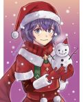 1girl bernadetta_von_varley commentary_request eyebrows_visible_through_hair fire_emblem fire_emblem:_three_houses fire_emblem_heroes gloves gradient gradient_background grey_eyes hat highres long_sleeves ohyotomato pom_pom_(clothes) purple_hair red_gloves santa_costume santa_hat scarf short_hair smile snowman solo striped striped_scarf twitter_username