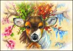 absurdres body_fur brown_eyes brown_fur commentary deer english_commentary flower gen_5_pokemon highres huge_filesize icicle leaf looking_at_viewer no_humans ohhseedee pink_flower pokemon pokemon_(creature) portrait realistic sawsbuck signature solo