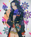 1girl black_hair black_jacket blue_flower cowboy_shot fingerless_gloves flower gloves grey_gloves highres jacket long_hair long_sleeves original purple_flower red_eyes red_nails shorts smile solo toinana