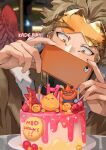 1boy artist_name birthday_cake blonde_hair blush boku_no_hero_academia cake candle commentary covering_mouth english_commentary food goggles goggles_on_head hands_up happy_birthday hawks_(boku_no_hero_academia) holding holding_phone kadeart looking_at_phone male_focus phone red_wings short_hair todoroki_enji wings yellow_eyes