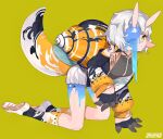 1girl artist_name bandaid bandaid_on_nose full_body green_background grey_hair highres horns kneeling long_sleeves monster_girl orange_eyes original orihira pleated_skirt print_legwear shell shoes short_hair simple_background skirt snail_girl snail_shell socks solo white_footwear white_skirt