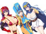 3girls aqua_hair armor armpits bikini_armor blue_eyes blue_hair blue_tabard blush bodysuit breasts cape circlet closed_mouth cowboy_shot cross_print dragon_quest dragon_quest_iii elbow_gloves gloves helmet highres large_breasts long_hair looking_at_viewer mitre multiple_girls orange_bodysuit parted_lips priest_(dq3) print_headwear purple_hair red_armor red_eyes red_gloves sage_(dq3) shoulder_pads smile soldier_(dq3) tabard tsuruhisashi winged_helmet yellow_gloves
