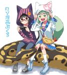 2girls :d animal animal_ears animal_hood ball_python black_hair blue_footwear closed_mouth cover cover_page dot_nose fox_ears fox_tail giant_snake glasses green_eyes green_hair grey_footwear handheld_game_console hands_up highres holding holding_handheld_game_console hood hood_up hoodie long_sleeves medium_hair multiple_girls open_mouth original oversized_animal pants playstation_portable purple_hoodie python red-framed_eyewear red_eyes semi-rimless_eyewear shoes short_hair sitting smile snake socks striped_footwear tail under-rim_eyewear upper_teeth white_background white_legwear yaza