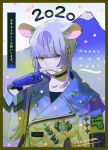 1boy 2020 animal_ears bangs blue_eyes blue_gloves blunt_bangs chinese_zodiac choker earrings gloves grey_hair happy_new_year highres jacket jewelry long_sleeves male_focus mount_fuji mouse_ears new_year original short_hair solo toinana year_of_the_rat