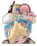 1boy 1girl :t arm_warmers blonde_hair blue_eyes bottle box closed_eyes commentary crushing food ice_cream ice_cream_cup kagamine_len looking_at_another lying naoko_(naonocoto) octopus on_stomach orange_print outstretched_arms pink_hair shirt solid_circle_eyes spiky_hair sweat takoluka tentacle_hair translated treble_clef v-shaped_eyebrows vocaloid white_background white_shirt wine_bottle