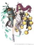 1girl ahoge bare_shoulders blue_eyes braid breasts canister cannon coat dorothy_(sinoalice) full_body glasses highres ji_no large_breasts long_hair looking_at_viewer messy_hair off_shoulder official_art over-rim_eyewear purple_hair semi-rimless_eyewear single_leg_pantyhose sinoalice smile solo square_enix torn_clothes torn_legwear under_boob white_background