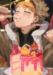 1boy artist_name birthday_cake blonde_hair blush boku_no_hero_academia cake candle closed_eyes commentary eating food fruit goggles goggles_on_head happy_birthday hawks_(boku_no_hero_academia) holding holding_spoon kadeart male_focus red_wings short_hair smile spoon strawberry todoroki_enji utensil_in_mouth wings