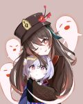 2girls ;d bead_necklace beads blush brown_hair dovah_kiin genshin_impact ghost hat highres hu_tao hug hug_from_behind jewelry jiangshi long_hair long_sleeves looking_at_viewer multiple_girls necklace one_eye_closed open_mouth purple_hair qiqi red_eyes smile symbol-shaped_pupils violet_eyes