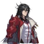 1boy abs armor black_hair cleavage_cutout closed_mouth clothing_cutout coat coat_on_shoulders covered_abs hair_between_eyes long_hair open_clothes open_coat original pauldrons qiongsheng scratches shoulder_armor simple_background single_pauldron solo