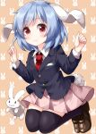 1girl :3 animal_ears bangs black_jacket black_legwear blazer blue_hair brown_footwear bunny_background bunny_tail buttons clenched_hands closed_mouth collared_shirt eyebrows_visible_through_hair full_body highres jacket legs_up long_sleeves looking_at_viewer medium_hair necktie open_mouth orange_background pink_skirt pleated_skirt rabbit rabbit_ears red_eyes red_neckwear reisen ruu_(tksymkw) shirt skirt smile tail thigh-highs touhou white_shirt