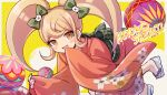 1girl :d animal_print bangs blonde_hair blush_stickers border bow brown_eyes brown_hair cat_hair_ornament cat_print character_name commentary_request danganronpa_(series) danganronpa_2:_goodbye_despair floral_print furisode green_bow hair_bow hair_ornament japanese_clothes kimono long_hair long_sleeves looking_at_viewer lower_teeth obi open_mouth saionji_hiyoko sash sleeves_past_wrists smile solo takagiri twintails twitter_username white_border wide_sleeves yellow_eyes