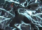 commentary creature electricity enishi_(menkura-rin10) fangs full_body gen_5_pokemon highres legendary_pokemon no_humans official_style open_mouth pokemon pokemon_(creature) signature solo yellow_eyes zekrom