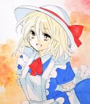1girl :d apron arm_behind_back bangs blonde_hair blue_dress bow commentary dress elbow_gloves eyebrows_visible_through_hair frilled_apron frilled_gloves frills gloves hair_between_eyes hat hat_bow hat_ribbon kana_anaberal looking_at_viewer maid_apron matsuppoi neck_ribbon open_mouth orange_background puffy_short_sleeves puffy_sleeves red_bow red_neckwear red_ribbon ribbon short_hair short_sleeves sidelocks smile solo splatter_background sun_hat touhou touhou_(pc-98) traditional_media white_gloves white_headwear yellow_eyes