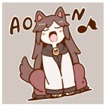 1girl animal_ears blush_stickers brooch brown_hair closed_eyes commentary_request dress eighth_note fangs full_body grey_background howling imaizumi_kagerou jewelry long_hair long_sleeves musical_note open_mouth poronegi red_dress simple_background solo squatting tail touhou white_dress wolf_ears wolf_tail