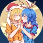 2girls after_kiss alternate_headwear animal_ears antlers arm_up bangs blonde_hair blue_dress blue_hair blush collarbone commentary dress ear_clip eyebrows_visible_through_hair facing_another floppy_ears full_moon hat heart highres holding_hands interlocked_fingers low_twintails midriff moon multiple_girls navel night orange_shirt outdoors puffy_short_sleeves puffy_sleeves rabbit_ears reindeer_antlers ringo_(touhou) saliva saliva_trail santa_hat seiran_(touhou) shirt short_hair short_sleeves siw0n standing tongue tongue_out touhou twintails upper_body yuri